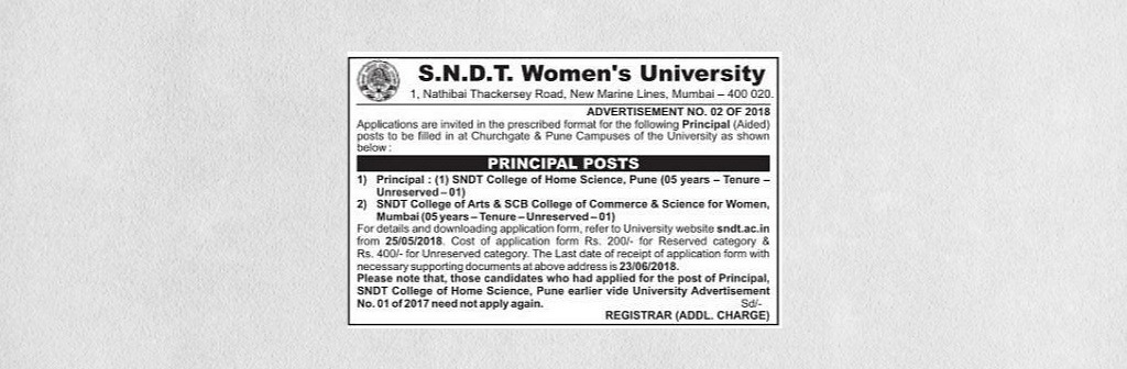 Advertisement No. 02 of 2018 for Principal Posts