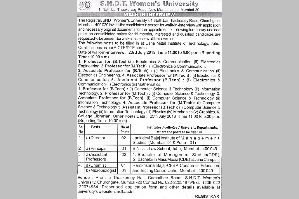 Walk In Interview for various Teaching Posts on 23rd July 2018(UMIT) and 25th July 2018 (Other Institutes) at Churchgate Campus